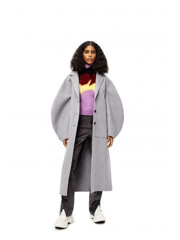 Grey circular sleeve belted coat in wool and cashmere