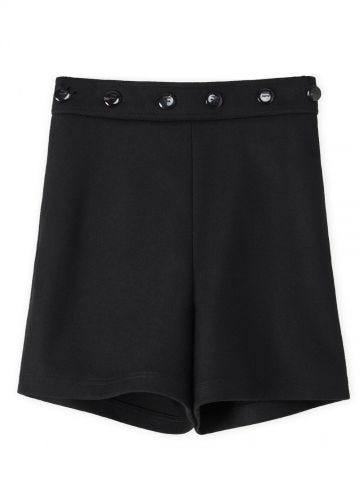 Black button shorts in wool