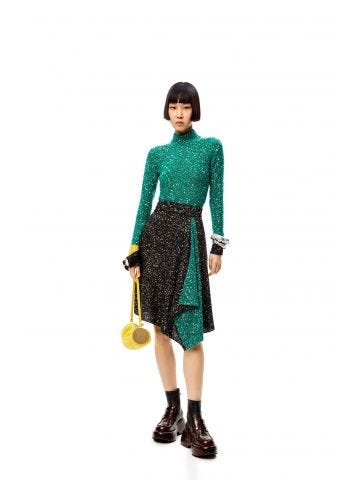 Black and green sequin knit skirt in wool mohair