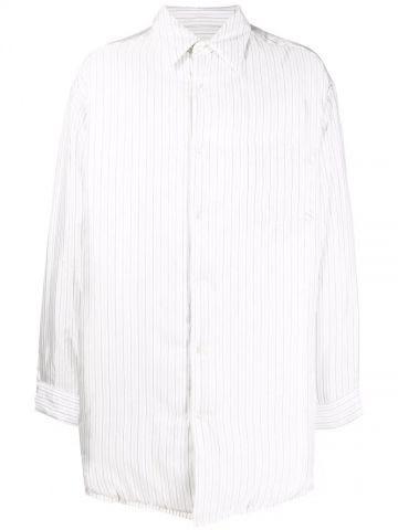 White oversized striped shirt jacket from