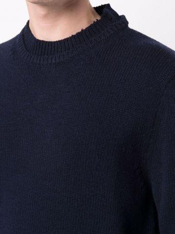 Blue jumper with worn effect