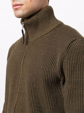Brown ribbed cardigan with full zip and funnel neck