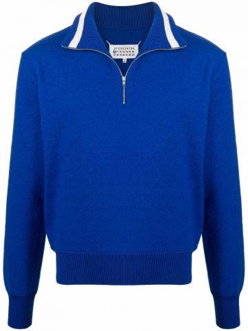 Blue turtleneck with zip