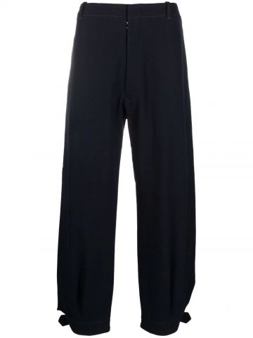 Blue trousers with ankle strap