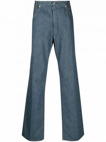 Blue logo straight jeans