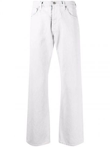 Jeans dritti effetto pittura bianca con vita media