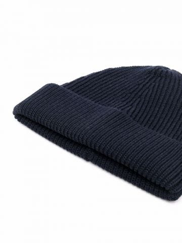 Blue ribbed knit beanie hat