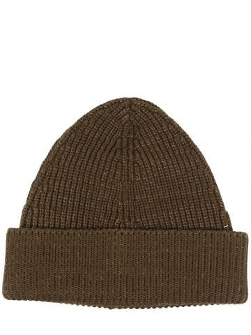 Brown ribbed knit beanie hat