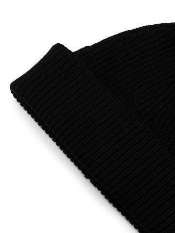 Black ribbed knit beanie hat