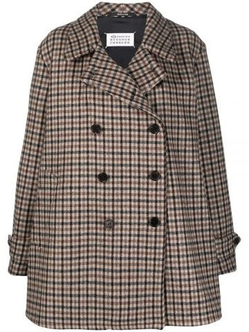 Brown plaid-check double-breasted coat