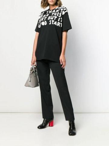 Black oversized Charity AIDS print T-shirt