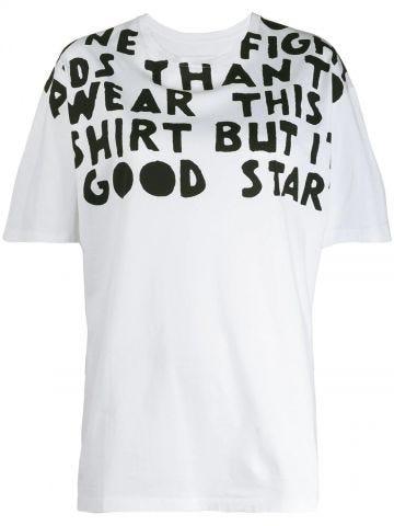 White oversized Charity AIDS print T-shirt