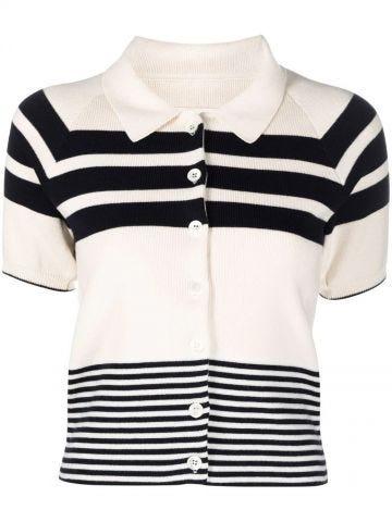 White striped-knit polo shirt
