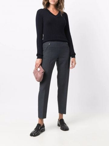 Grey high-waisted slim-fit trousers