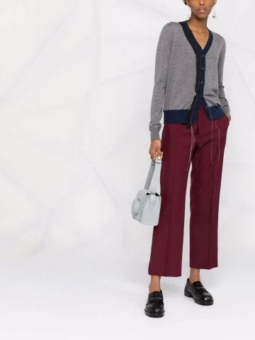 Burgundy tailored cropped trousers