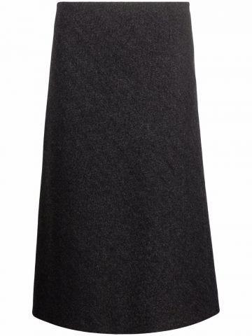 Grey wool midi skirt