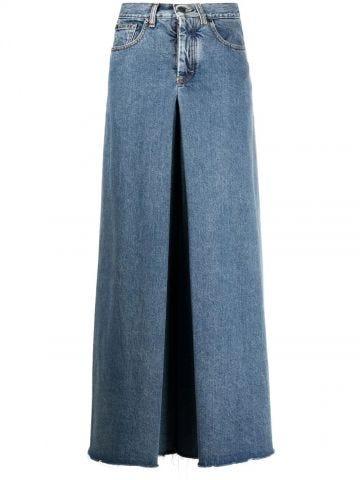 Blue four-stitch wide-leg jeans