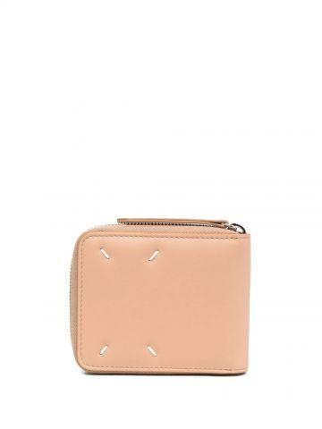 Beige zip around wallet