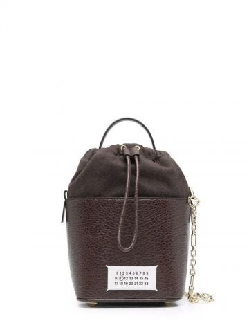 Brown textured leather bucket bag