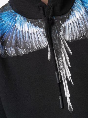 Black hoodie with blue Wings pattern