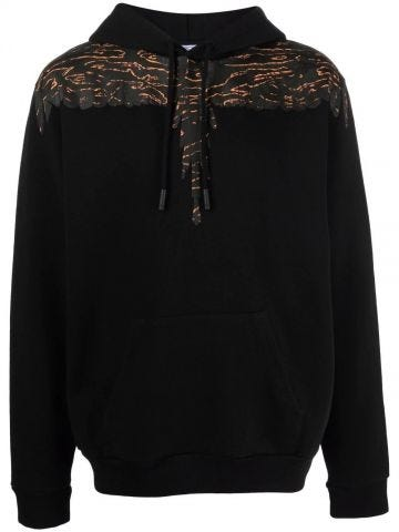 Black hooded sweatshirt with Wings pattern