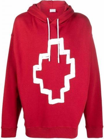 Red printed hooded sweatshirt