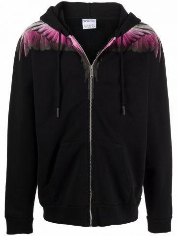 Black zip-up hoodie with Wings pattern