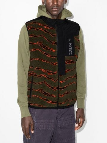 Multicolored print wool vest