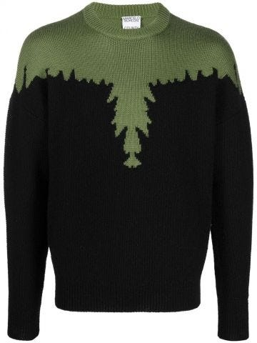 Black sweater with green Wings pattern