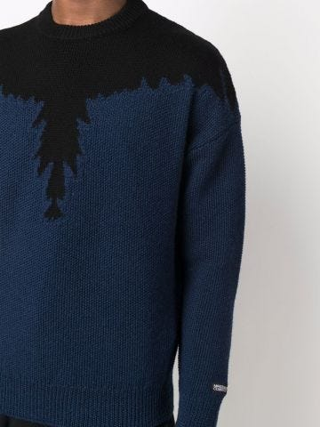 Blue sweater with black Wings pattern