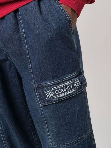 Cargo jeans with embroidery