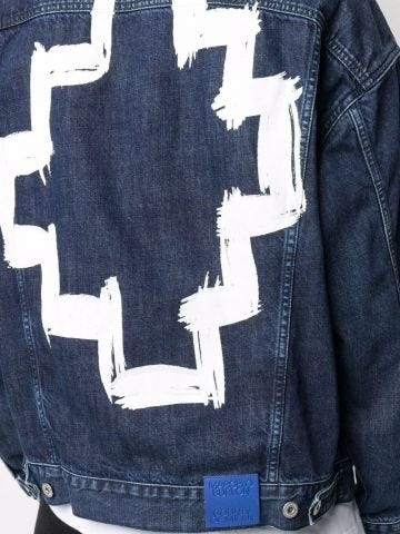 Tempura denim jacket with print