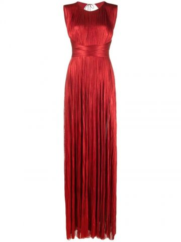 Red Adela ruched drape silk gown