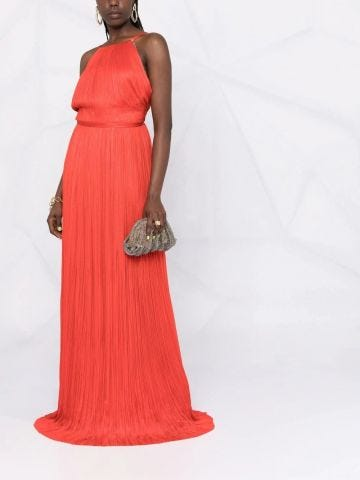 Red silk Clarisa gown
