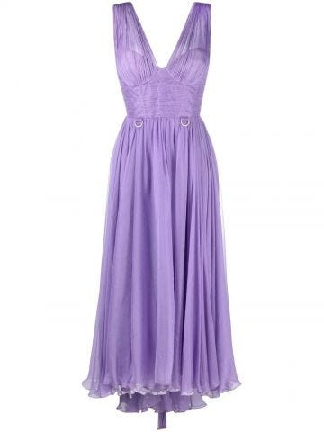 Purple Sorena silk assymmetric dress