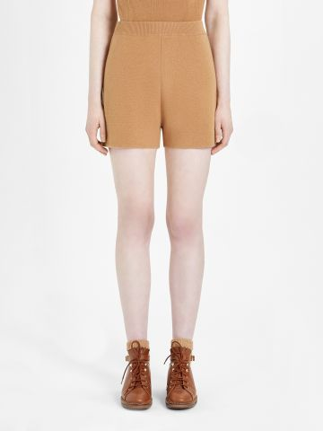 Brown wool and cashmere yarn Acro shorts