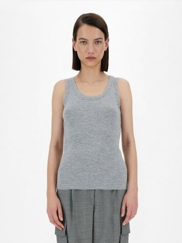 Grey cashmere and silk Plava top