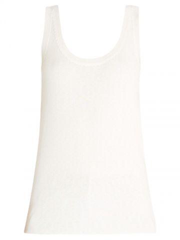 White cashmere and silk Plava top