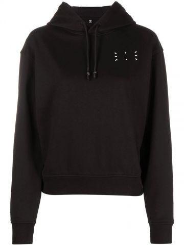 Black hooded sweatshirt with logo detail