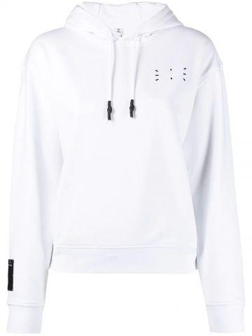 White hooded sweatshirt with logo detail