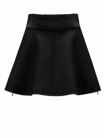 Black wool mini skirt with logo