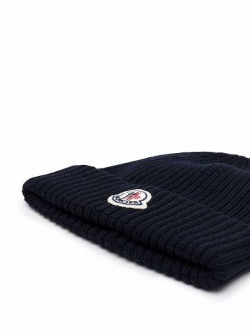 Blue Rib-Knit Beanie