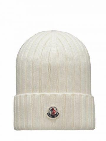 White pure wool beanie