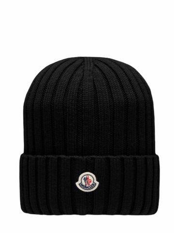 Black pure wool beanie