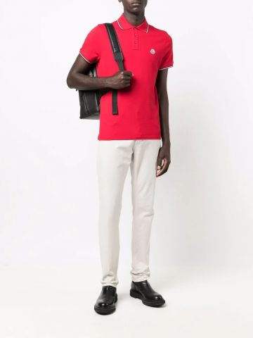 Red Polo with tricolor detail