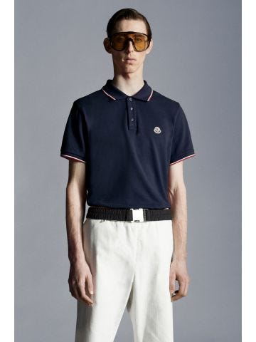 Blue polo shirt with tricolour pattern
