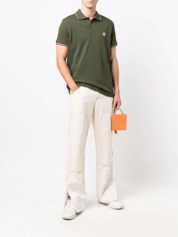 Green Polo with tricolor detail
