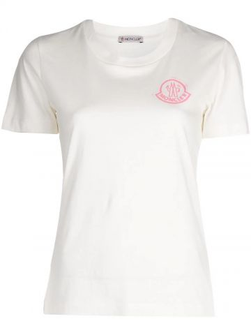 White slim fit T-shirt with printed logo