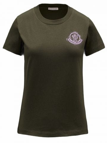 Green slim fit T-shirt with printed logo