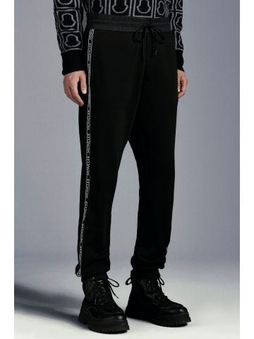 Black trackpants with side bands